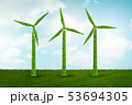 Windmills in ecological power generation and production concept - 3d rendering 53694305