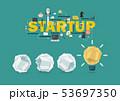 Crumpled paper balls and light bulb idea Startup 53697350