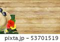 背景-海-夏-木目-モンステラ-麦わら帽子-サングラスプルメリア 53701519