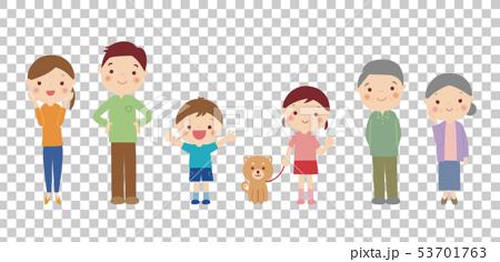 笑顔の3世代家族と犬のイラスト 53701763