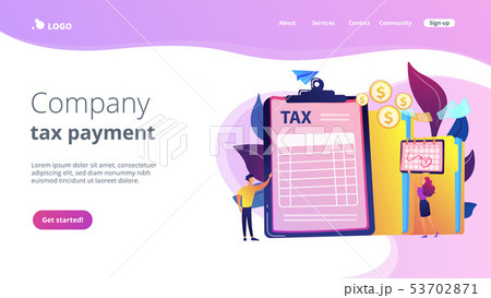 Tax form concept landing page. 53702871
