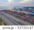 Aerial top view of container cargo ship in the 53720147