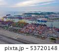 Aerial top view of container cargo ship in the 53720148