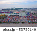 Aerial top view of container cargo ship in the 53720149