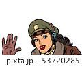girl woman retro Aviator pilot welcome gesture 53720285
