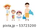 家族 夏 海水浴のイラスト 53723200