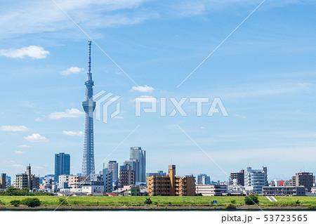 都市風景 荒川土手から東京スカイツリーを望む 53723565