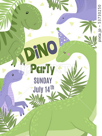 Vector Birthday Party Invitation with cute dinosaurs. 53730250