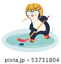 penguin play ice hockey in the winter 53731804