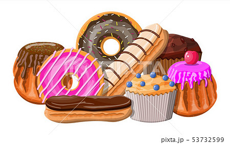 Sweet desserts set. 53732599