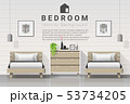Modern bedroom with twin beds background 53734205