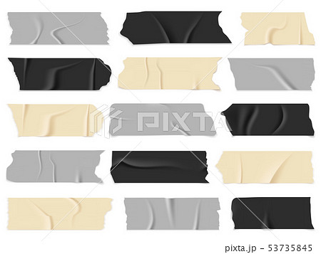 Scotch tape. Transparent adhesive tapes, sticky pieces. Isolated vector set 53735845