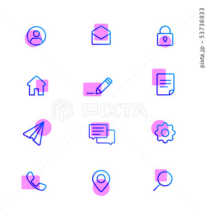 Modern Web Icons pack. Base set icons for site. 53736933