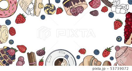 Horizontal banner with different cakes, coffee, 53739072