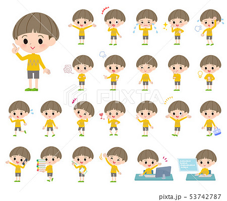 Yellow clothing boy_emotion 53742787