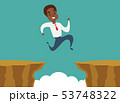 black african american businessman jump over cliff gap, overcome the difficulty. Business concept 53748322