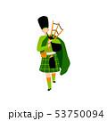 Male Bagpiper in Green Irish Costume Playing Bagpipe, Man Celebrating Saint Patrick Day Vector 53750094