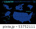 United States of America, Alaska, Hawaii, Mexico, Canada and Brazil Vector Maps 53752111