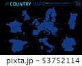 Europe, United Kingdom, France, Spain, Italy, Portugal and Germany Vector Maps 53752114