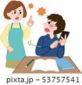 喧嘩する親子  53757541