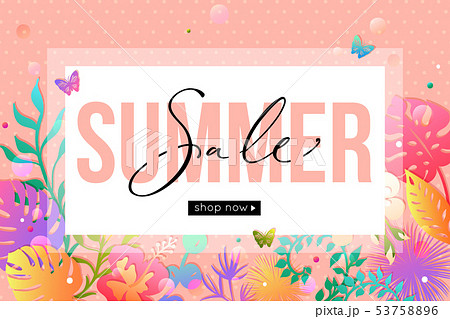 Vector summer sale banner design. Paper style. 53758896
