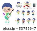 男の子 眼鏡 楽器のイラスト 53759947