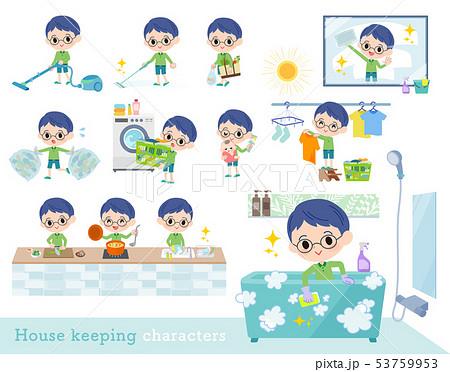 Green clothing glasses boy_housekeeping 53759953