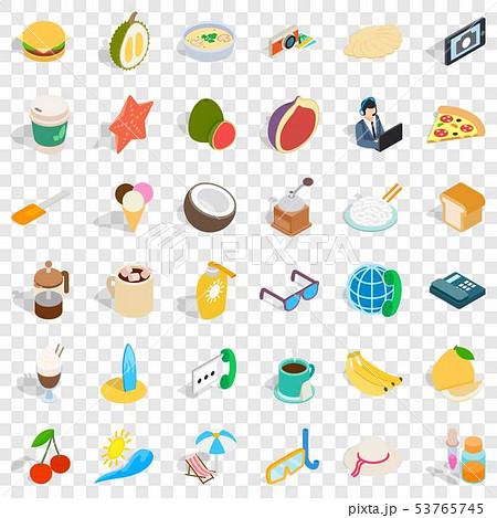 One breakfast icons set, isometric style 53765745