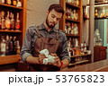 Handsome bartender polishing a glass at the bar 53765823