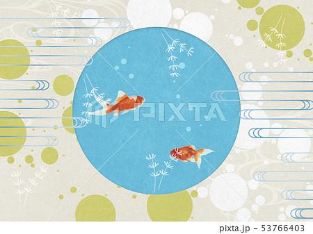 背景素材-夏イメージ-丸窓-水玉-水草-金魚 53766403