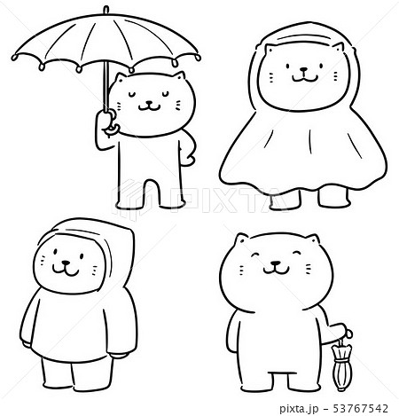 vector set of cat use umbrella and raincoat 53767542