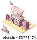 Vector isometric ice cream cart kiosk 53778474