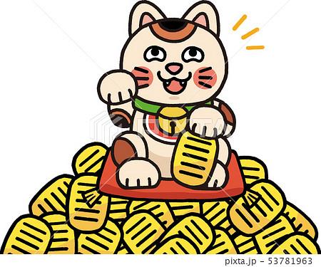 小判と招き猫 イラスト 53781963