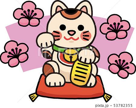 梅と招き猫 イラスト 53782355