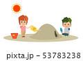 男の子と女の子の子ども2人が暑い夏の砂場で遊んで熱中症になっているイラスト 53783238