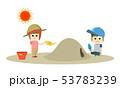 男の子と女の子の子ども2人が暑い夏の砂場で帽子をかぶって熱中症対策して遊んでいるイラスト 53783239