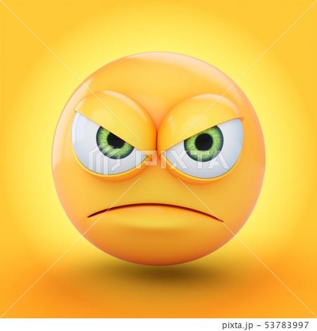 3D Rendering grumpy emoji isolated on yellow 53783997