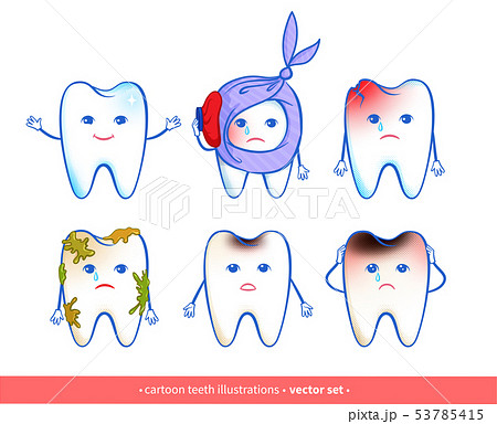 Vector collection of cartoon tooth characters 53785415