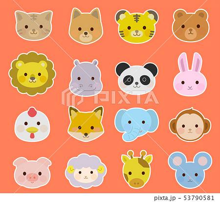 かわいい動物の顔 アイコン 白フチ線イラスト 53790581
