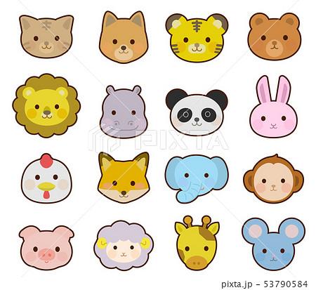 かわいい動物の顔 アイコン イラスト02のイラスト素材 53790584 Pixta