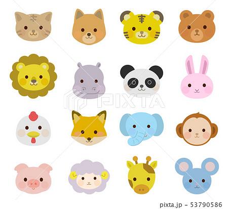 かわいい動物の顔 アイコン イラスト01のイラスト素材 53790586 Pixta