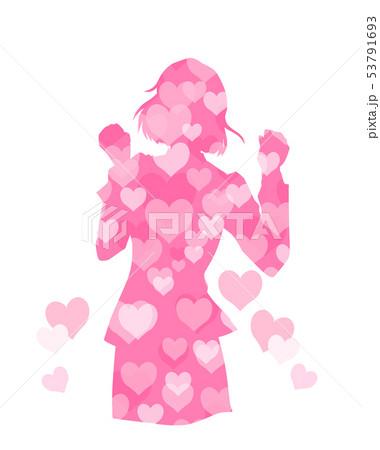 恋愛で嬉しいことがあった女性のイラスト 53791693