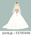 ブーケを持ちウェディングドレスを着た女性 正面 全身 53793406