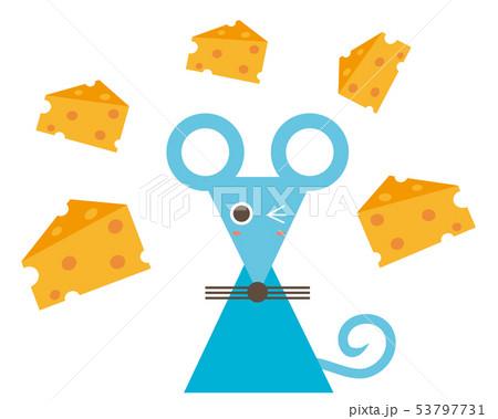 ねずみ ねずみ年 2020年 年賀状 イラスト チーズ 53797731