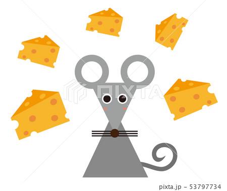 ねずみ ねずみ年 2020年 年賀状 イラスト チーズ 53797734