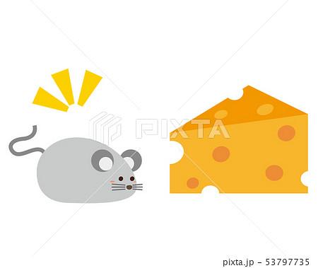 ねずみ ねずみ年 2020年 年賀状 イラスト チーズ 53797735