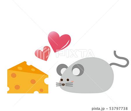 ねずみ ねずみ年 2020年 年賀状 イラスト チーズ 53797738