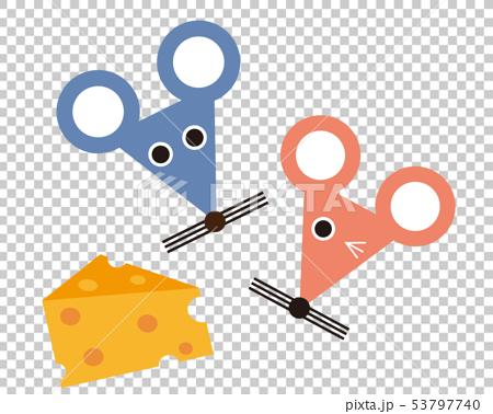 ねずみ ねずみ年 2020年 年賀状 イラスト チーズ 53797740
