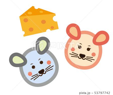 ねずみ ねずみ年 2020年 年賀状 イラスト チーズ 53797742