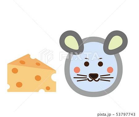 ねずみ ねずみ年 2020年 年賀状 イラスト チーズ 53797743